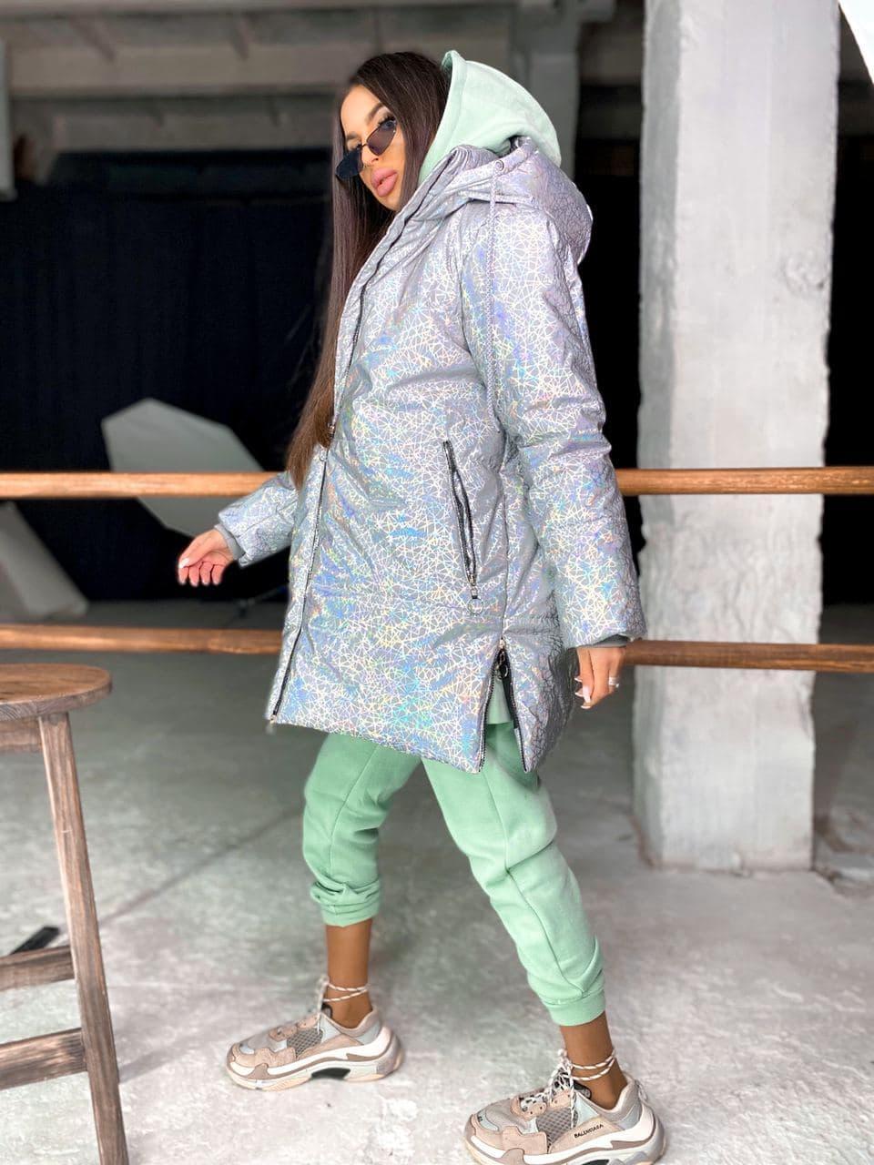 Женская  теплая рефлективная куртка  с капюшоном