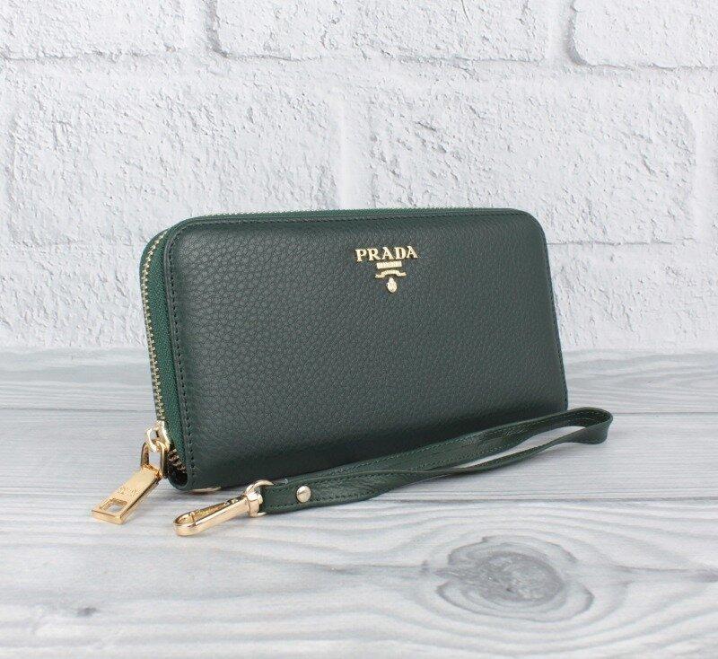 Шкіряний жіночий гаманець на блискавці марсала Prada 3002-14