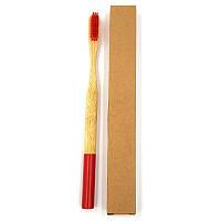 Взрослая зубная щетка из бамбука Круглая 19 см Бордовый