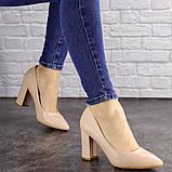 Туфли женские на каблуке бежевые Brandy 1626 (37 размер), фото 4