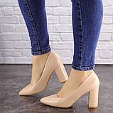 Туфли женские на каблуке бежевые Brandy 1626 (37 размер), фото 5