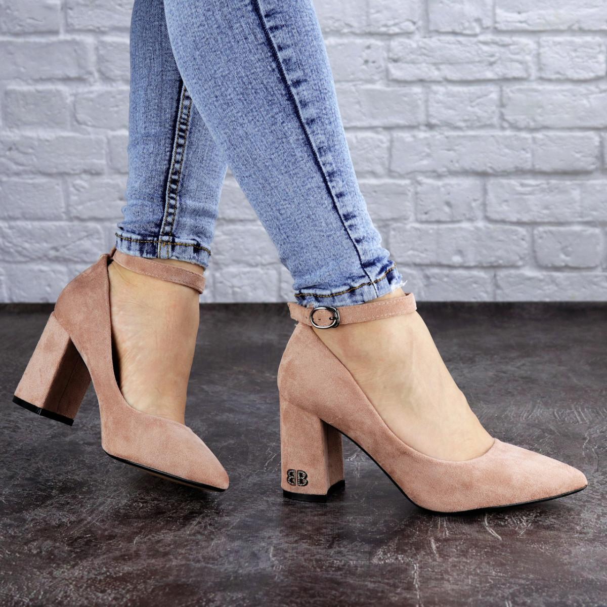 Женские пудровые туфли на каблуке Ramona 2052 (38 размер)