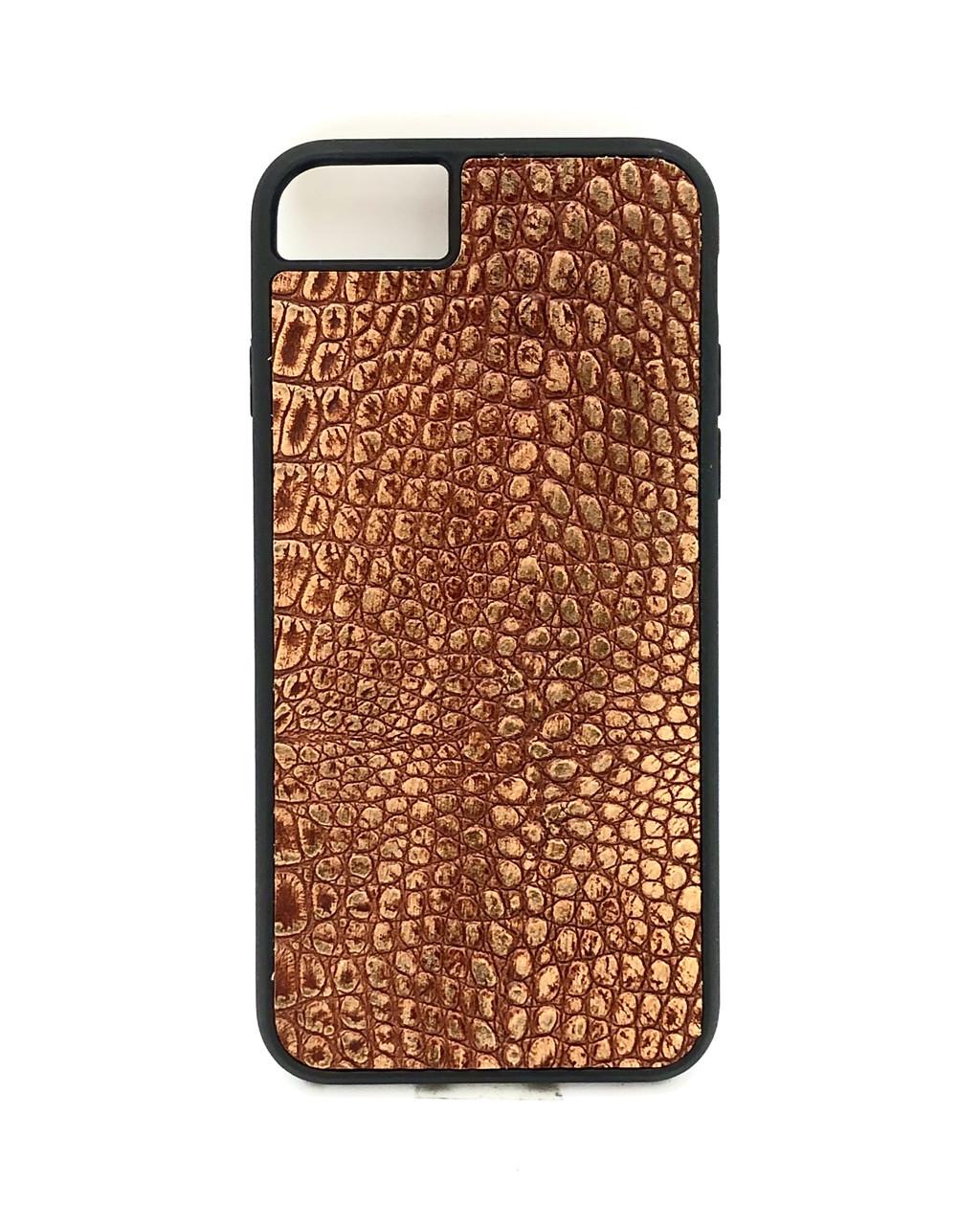 Чехол для iPhone 7/8 коньячного цвета из Телячьей кожи тиснёной под Крокодила