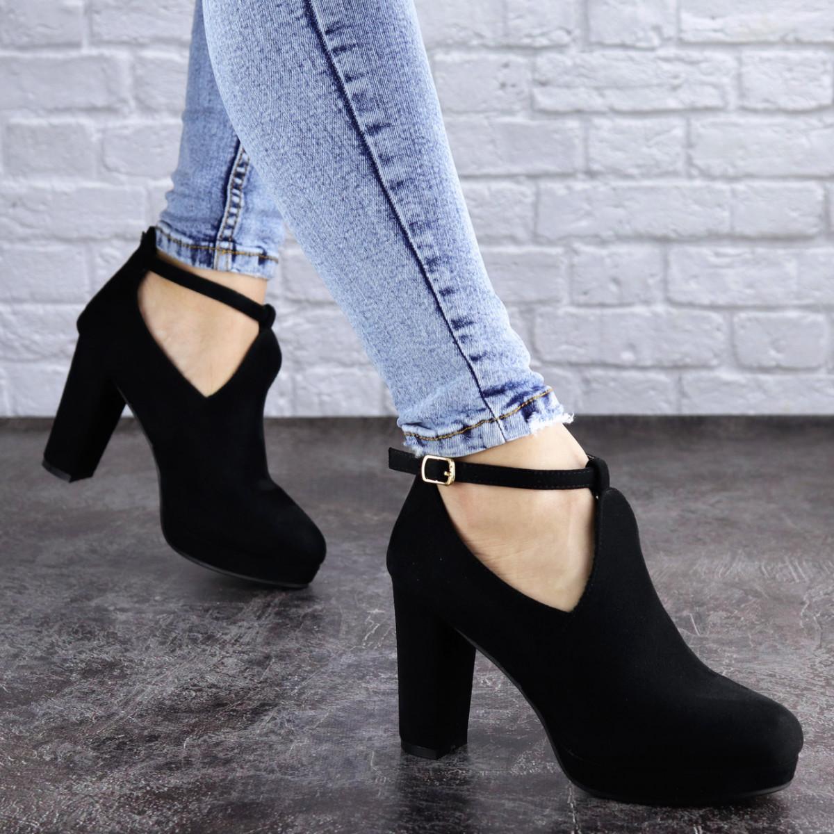 Туфли женские на каблуке черные Jaime 2047 (36 размер)