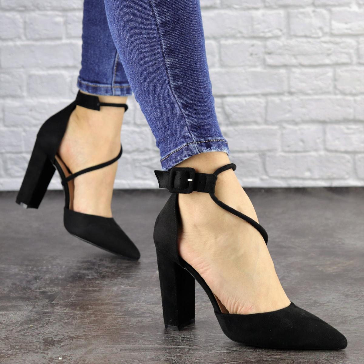 Туфли женские на каблуке черные Noisette 1481 (40 размер)