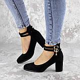 Туфли женские на каблуке черные Pebbles 2146 (36 размер), фото 4