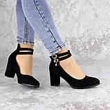 Туфли женские на каблуке черные Pebbles 2146 (36 размер), фото 7