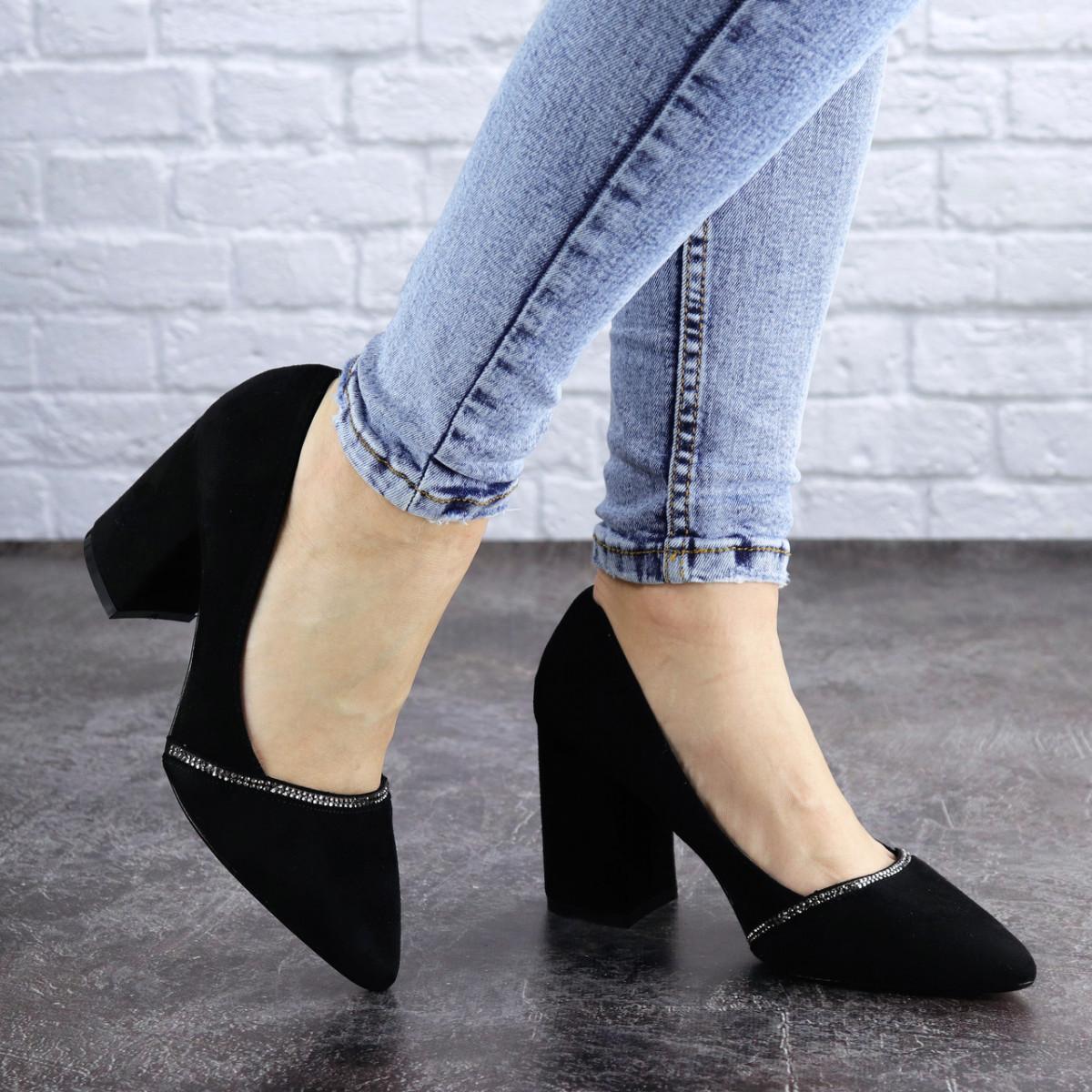 Туфли женские на каблуке черные Shiro 2096 (36 размер)