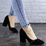 Туфли женские на каблуке черные Shiro 2096 (36 размер), фото 2