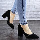 Туфли женские на каблуке черные Shiro 2096 (36 размер), фото 3