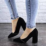Туфли женские на каблуке черные Shiro 2096 (36 размер), фото 4