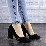 Туфли женские на каблуке черные Shiro 2096 (36 размер), фото 5