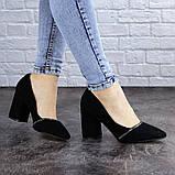 Туфли женские на каблуке черные Shiro 2096 (36 размер), фото 6