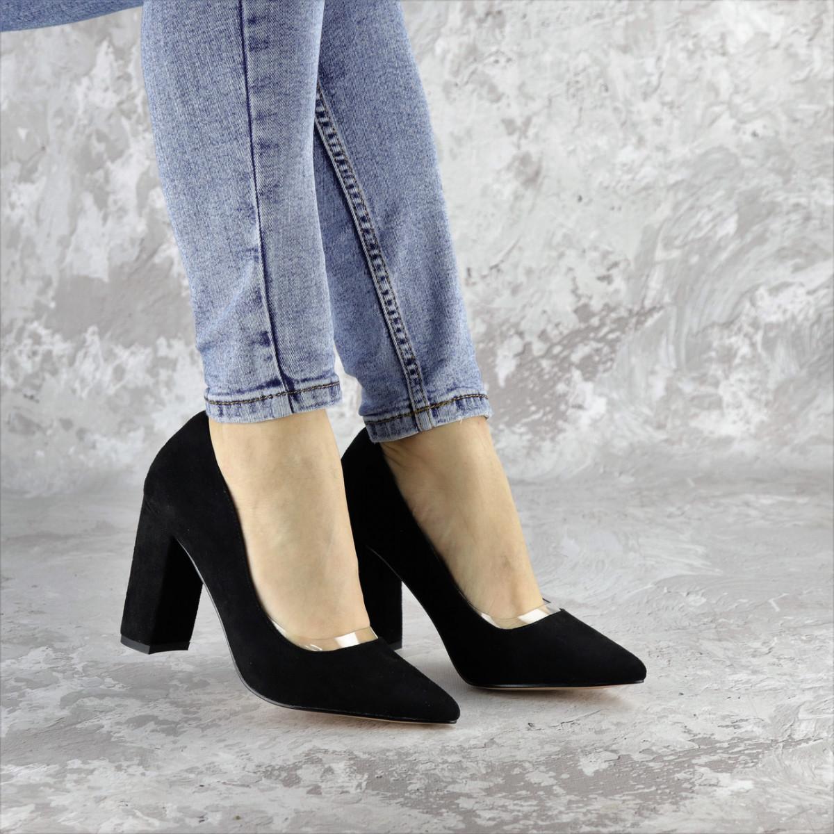 Туфли женские на каблуке черные Snuffles 2399 (36 размер)