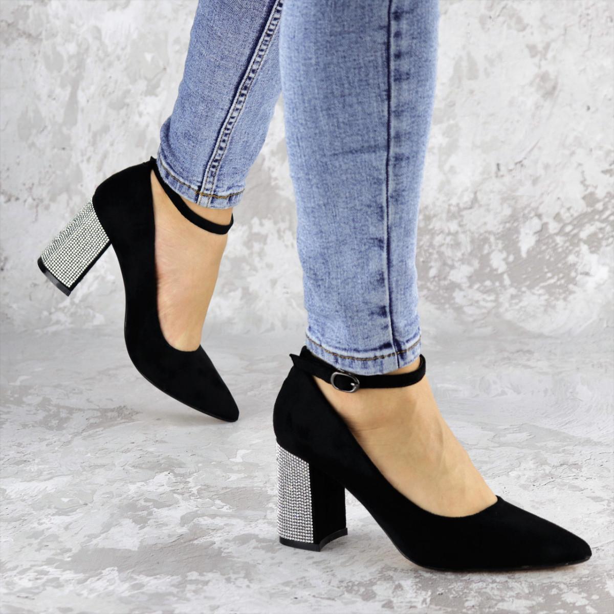 Туфли женские на каблуке черные Teo 2167 (37 размер)
