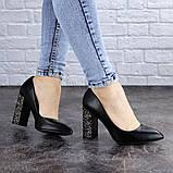 Туфли женские на каблуке черные Tita 2054 (36 размер), фото 2