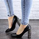 Туфли женские на каблуке черные Tita 2054 (36 размер), фото 7