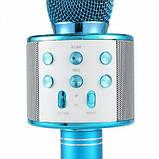 Микрофон-караоке безпроводной Wster WS-858 Голубой, фото 5