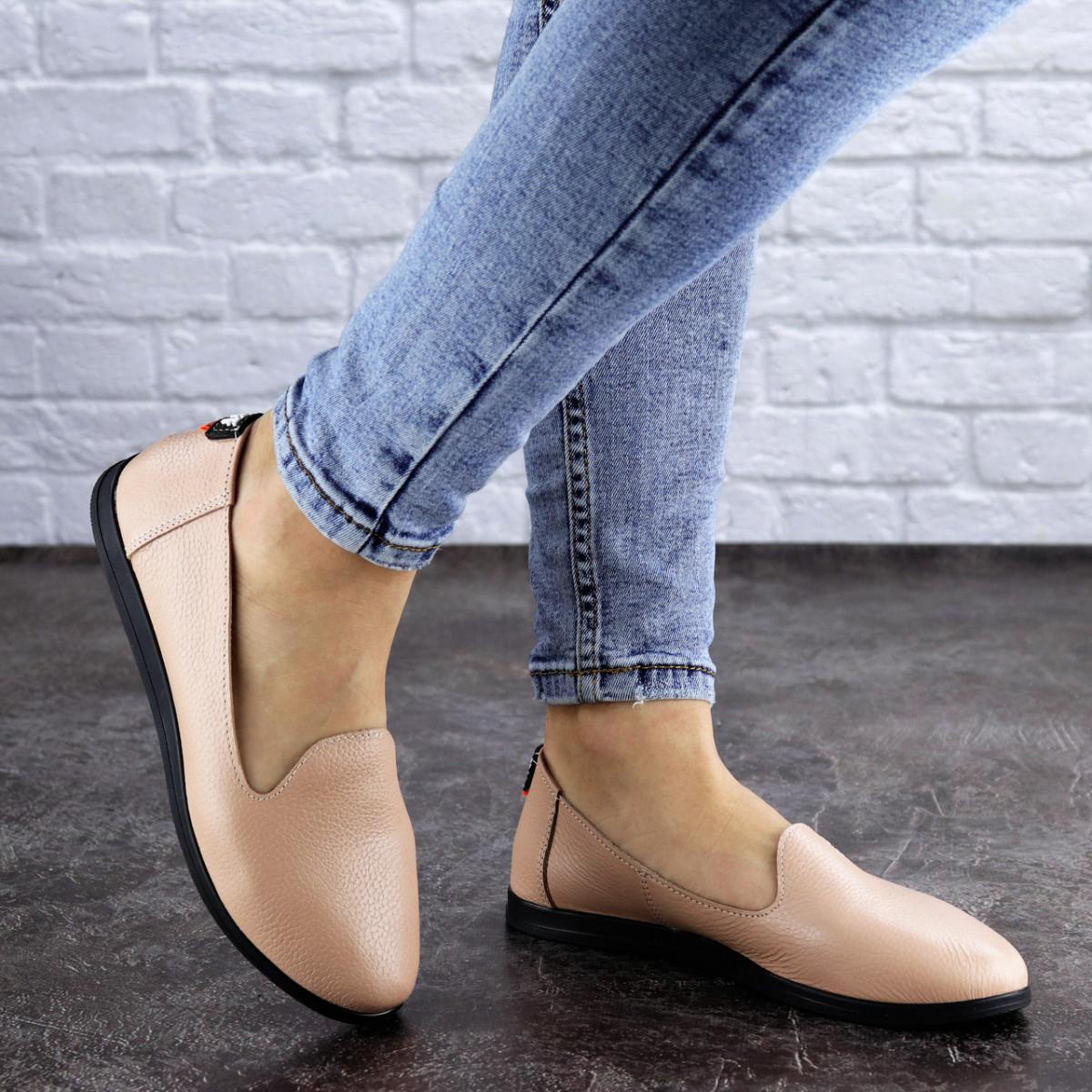 Женские туфли кожаные бежевые Fletcher 1954 (36 размер)