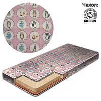 Матрас кокос - поролон - гречка - хлопок №1 - Звёзды в кружочке КПГ-1 29504 цвет розовый ТМ Беби-Текс