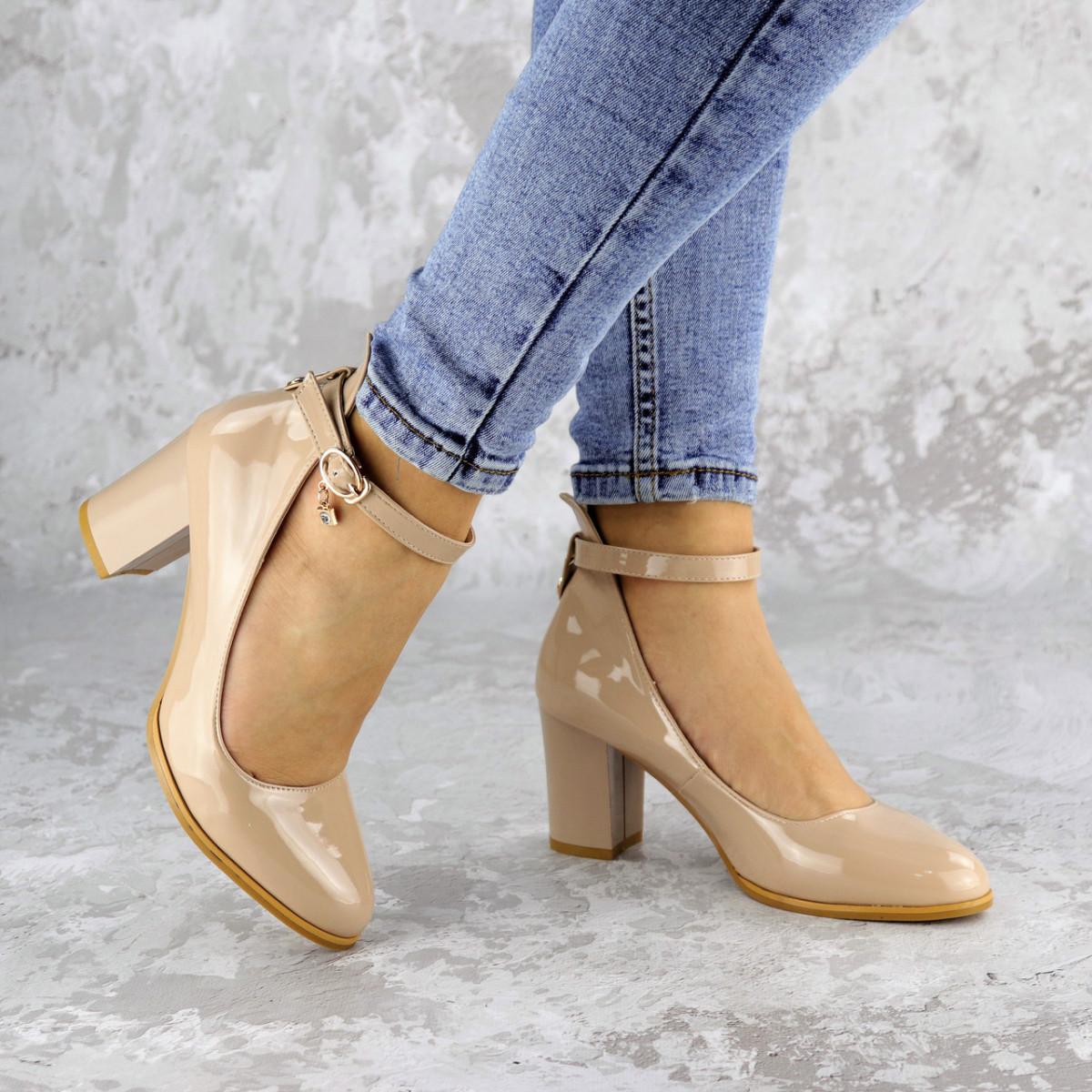 Женские туфли на каблуке бежевые Curly 2199 (36 размер)