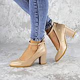 Женские туфли на каблуке бежевые Curly 2199 (36 размер), фото 2