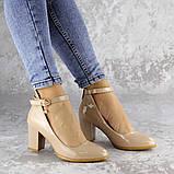 Женские туфли на каблуке бежевые Curly 2199 (36 размер), фото 3