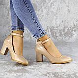 Женские туфли на каблуке бежевые Curly 2199 (36 размер), фото 5