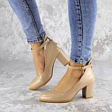Женские туфли на каблуке бежевые Curly 2199 (36 размер), фото 6