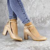 Женские туфли на каблуке бежевые Curly 2199 (36 размер), фото 8
