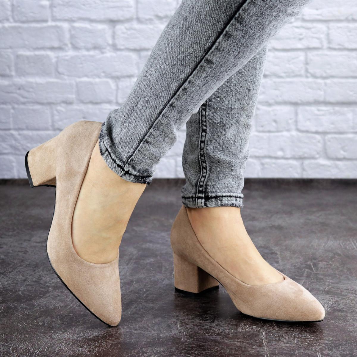 Женские туфли на каблуке бежевые Pebbles 2015 (38 размер)