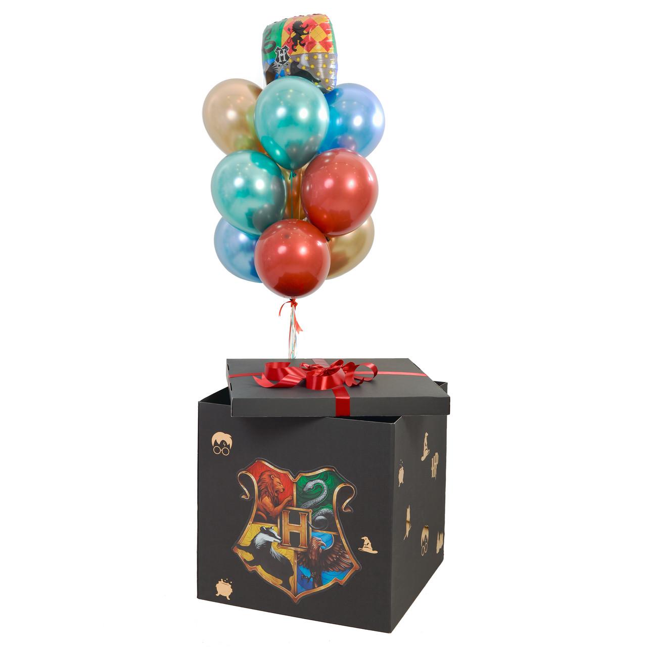 Коробка-сюрприз черная с декором и связка: герб Гарри Поттера, 3 золото хром, 2 красных хром дабл стафф, 2
