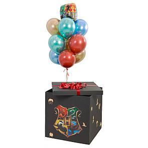 Коробка-сюрприз черная с декором и связка: герб Гарри Поттера, 3 золото хром, 2 красных хром дабл стафф, 2, фото 2