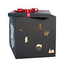 Коробка-сюрприз черная с декором и связка: герб Гарри Поттера, 3 золото хром, 2 красных хром дабл стафф, 2, фото 3
