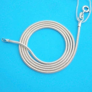 Серебряная цепочка Змейка Снейк (55 см, 4.7 г), цепь из серебра 925 пробы