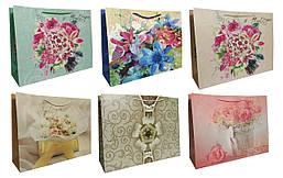 """Пакет картон 200грм, """"Цветы"""" МИКС 6 видов, 49,5*37*15см по 3шт в упак.* //"""