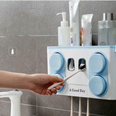 Органайзер диспенсер держатель для ванной Bathroom Toothbrush Holder Wall Mount на стену (4 стакана)