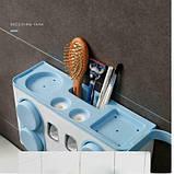 Органайзер диспенсер держатель для ванной Bathroom Toothbrush Holder Wall Mount на стену (4 стакана), фото 2