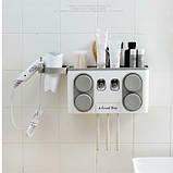 Органайзер диспенсер держатель для ванной Bathroom Toothbrush Holder Wall Mount на стену (4 стакана), фото 7