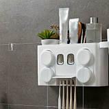 Органайзер диспенсер держатель для ванной Bathroom Toothbrush Holder Wall Mount на стену (4 стакана), фото 8