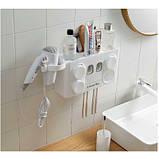 Органайзер диспенсер держатель для ванной Bathroom Toothbrush Holder Wall Mount на стену (4 стакана), фото 9