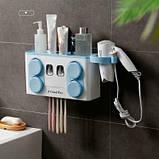 Органайзер диспенсер держатель для ванной Bathroom Toothbrush Holder Wall Mount на стену (4 стакана), фото 10