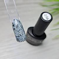 Гель лак для ногтей серый с черными хлопьями (перепелиное яйцо) 8мл №136