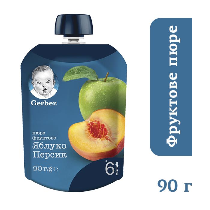 7941_Годен_до_30.03.21 Гербер пюре яблуко персик Пауч 90г