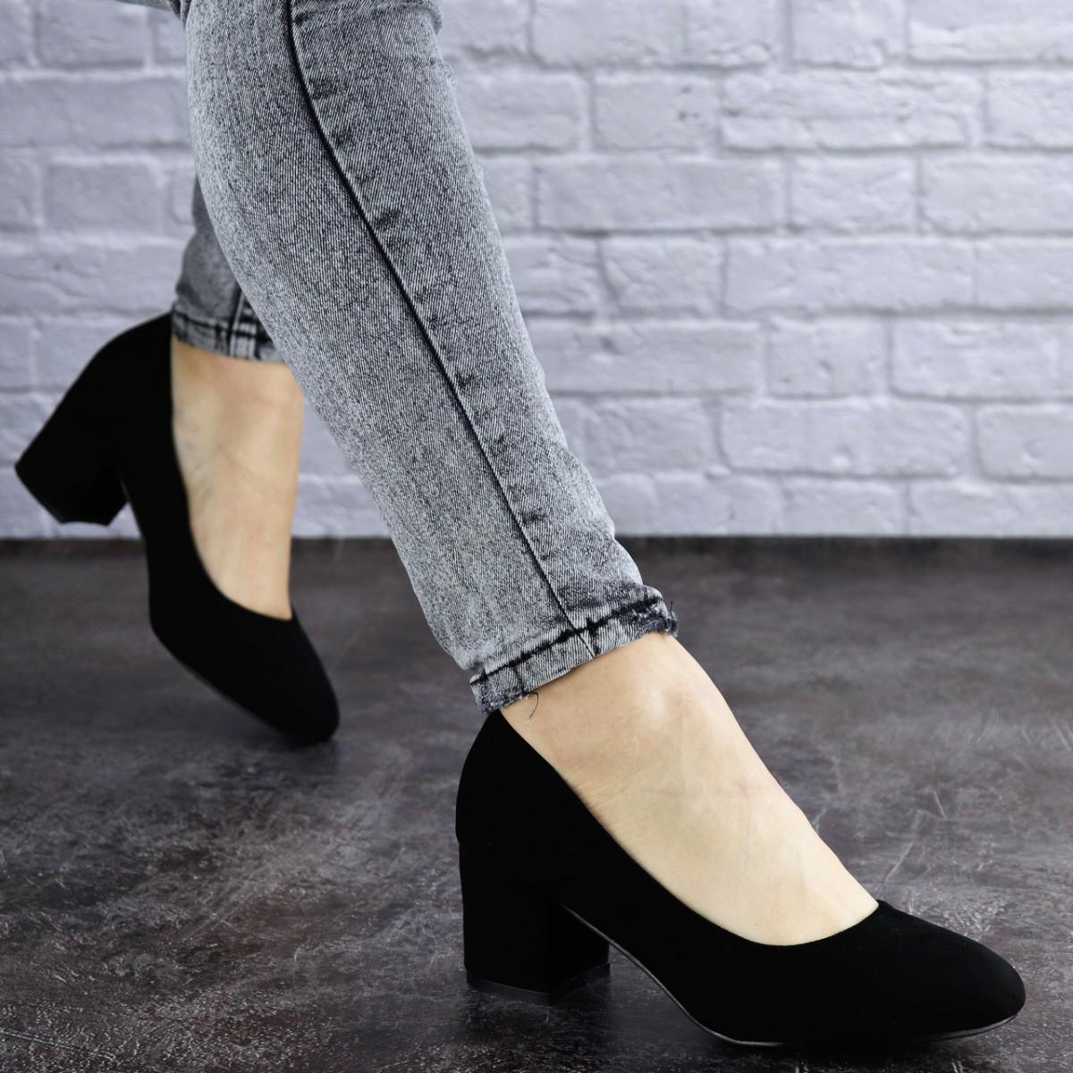 Женские туфли на каблуке черные Slider 2032 (37 размер)