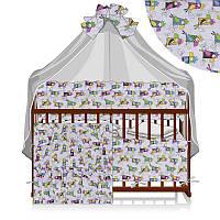Постельный комплект Сказочная колыбелька 6 предметов - ткань бязь - Попугаи - цвет белый ТМ Алекс