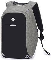 Умный рюкзак антивор с usb портом и отделением под ноутбук (20 л), повседневны, городской, спортивный, серый