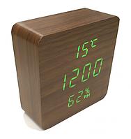 Электронные настольные часы-будильник с термометром и гигрометром LED WOOD CLOCK VST-872 под дерево коричневые