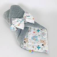 Зимний детский конверт на выписку BabySoon Лесные зверята на сером плюше 80 х 85 см (063)