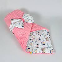 Детский плюшевый зимний конверт BabySoon Розовые радуги 80 х 85см (062)
